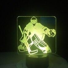 アイスホッケーゴールキーパー 3Dモデリングテーブルランプ 7 色の変更led常夜灯usb寝室睡眠照明スポーツファンギフトホーム装飾