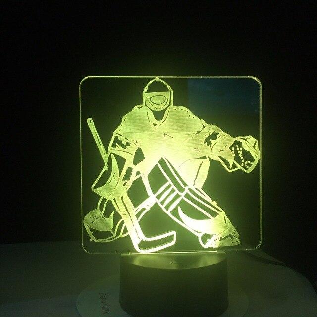Eis Hockey Goalie 3D Modellierung Tisch Lampe 7 Farben Ändern LED Nachtlicht USB Schlafzimmer Schlaf Beleuchtung Sport Fans Geschenke Hause decor