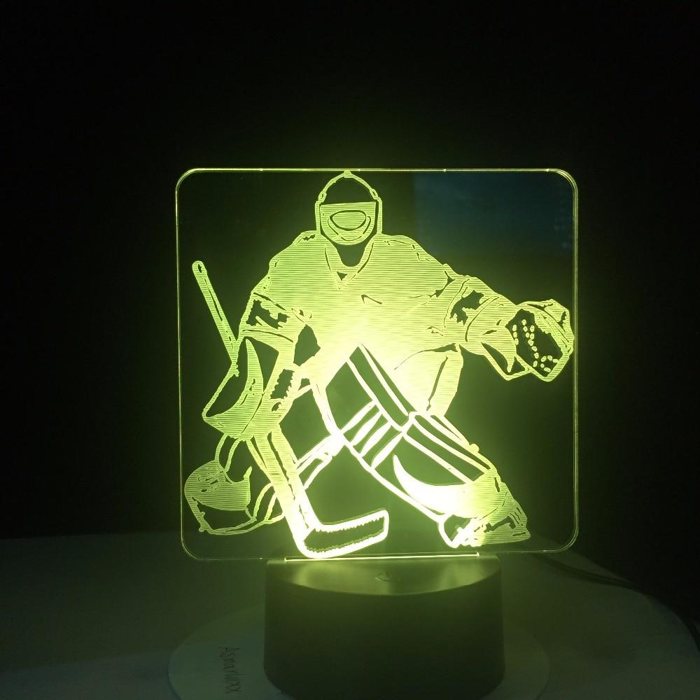Ice Hockey Goalie 3D Modelling Table Lamp 7 Colors Change LED NightLight USB Bedroom Sleep Lighting Sports Fans Gifts Home Decor