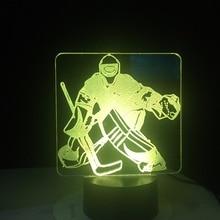 Ijshockey Goalie 3D Modellering Tafel Lamp 7 Kleuren Veranderen Led Nachtlampje Usb Slaapkamer Slaap Verlichting Sport Fans Geschenken Thuis decor