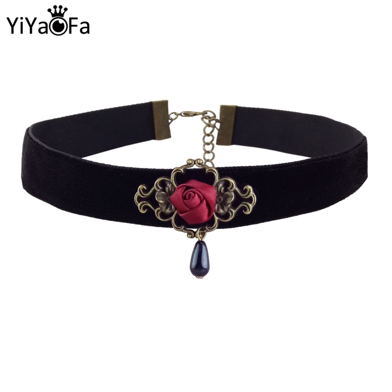 YiYaoFa Elegant Rose Choker Necklace for Women Accessories Gothic Party Jewelry Vintage Statement Necklace & Pendant DD-38