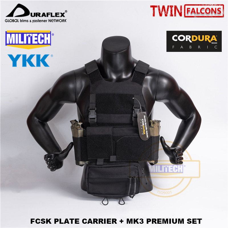 MILITECH TW FCSK BK CQC MOLLE MK3 Chest Rig Premium Set Military Combat Assault Tactical Vest Police Body Armor Plate Carrier