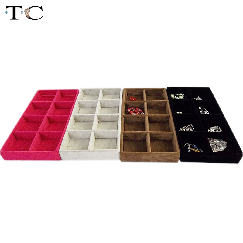 High Quality Jewelry Display Rose-red Velvet 8 Compartment Tray Case For Accessory Earring Hook and Ring
