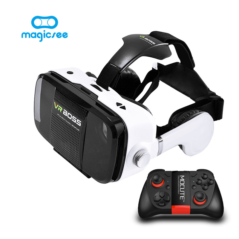 VR BOSS 3D VR Glasses Virtual Reality VR With Headset+Microphone Google Cardboard for 4″~6.3″ Smartphone+ Remote Gamepad