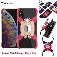 Luxury Metal Aluminum Alloy Bumper Case for Iphone Xs Max Xr X Car Magnetic Adsorption Stand Hard Cover for Iphone 8 7 6 6s Plus