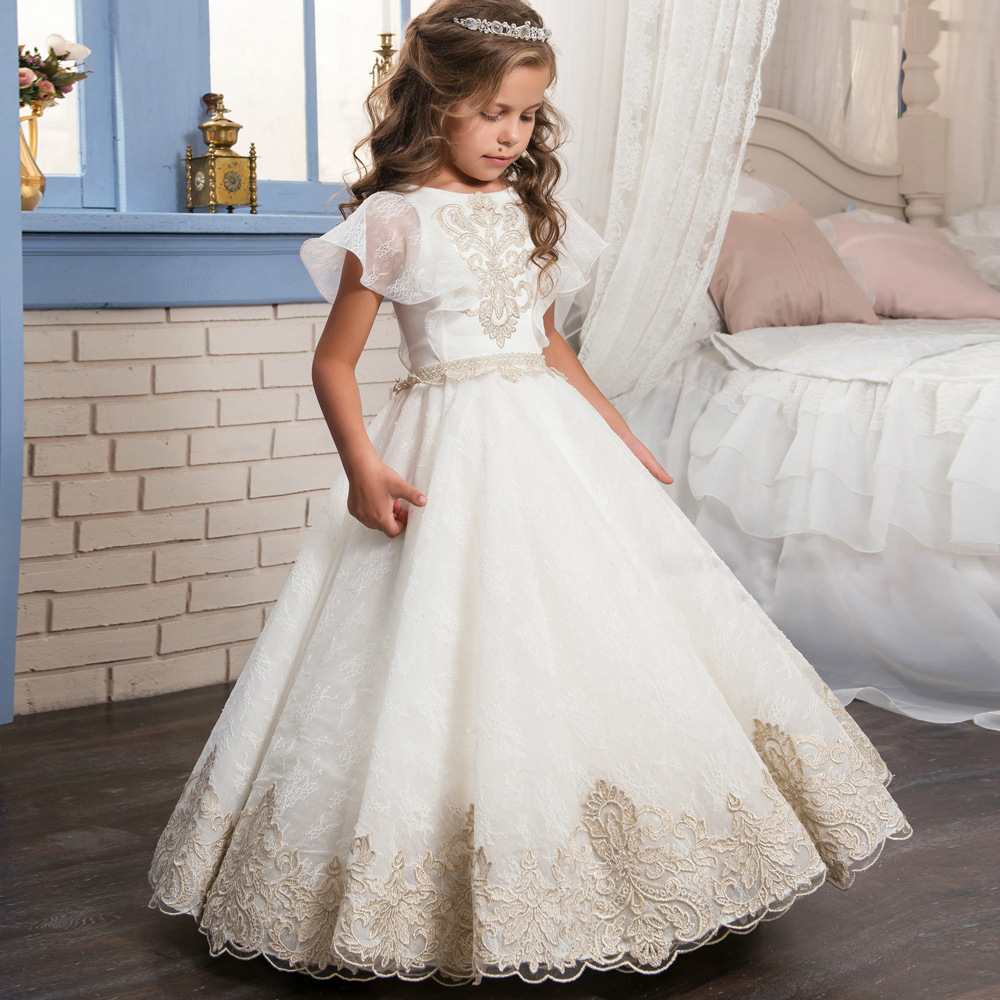 Good quality kids party embroidered dress for girls New foreign trade court retro full lace ribbon shawl pompom flower girl dres girl