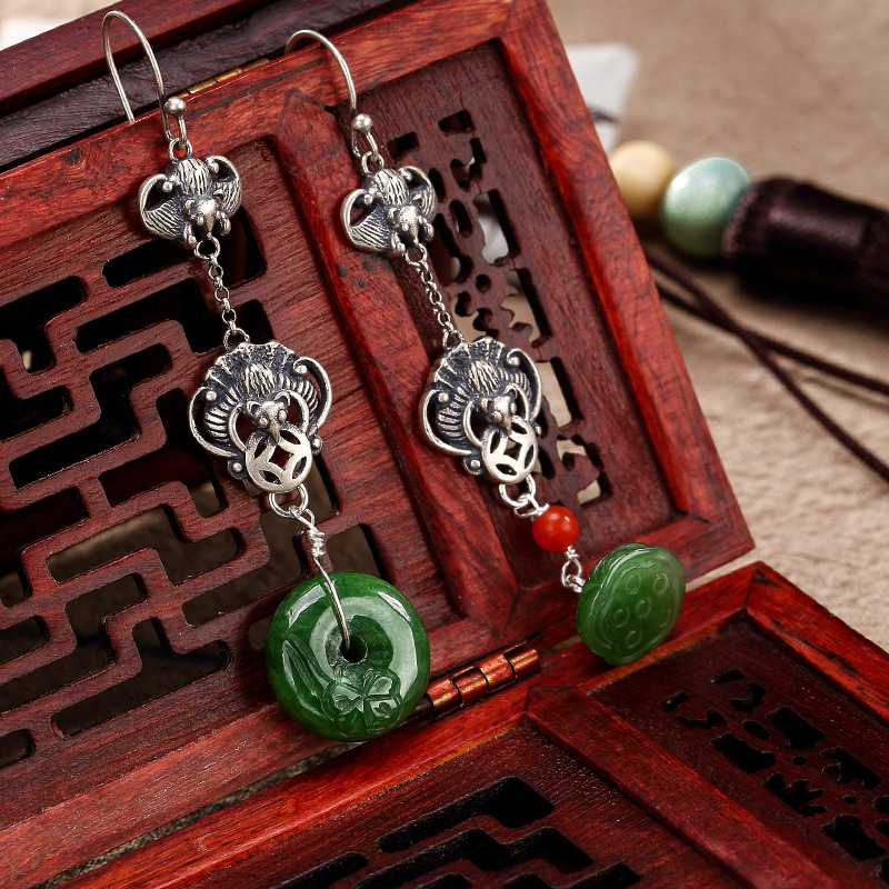 2018 Earings Fashion Jewelry Natural Hetian Jade 100% 925 Pure Inlay Lotus Frist Grade Quality Drop Earrings For Lady