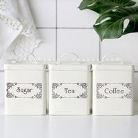 3Pcs/Set White Coffee Sugar Tea Storage Tank Good Iron Thicken Cover Square Food Box Kitchen Utensil Household11.5CM*11.5CM*14CM