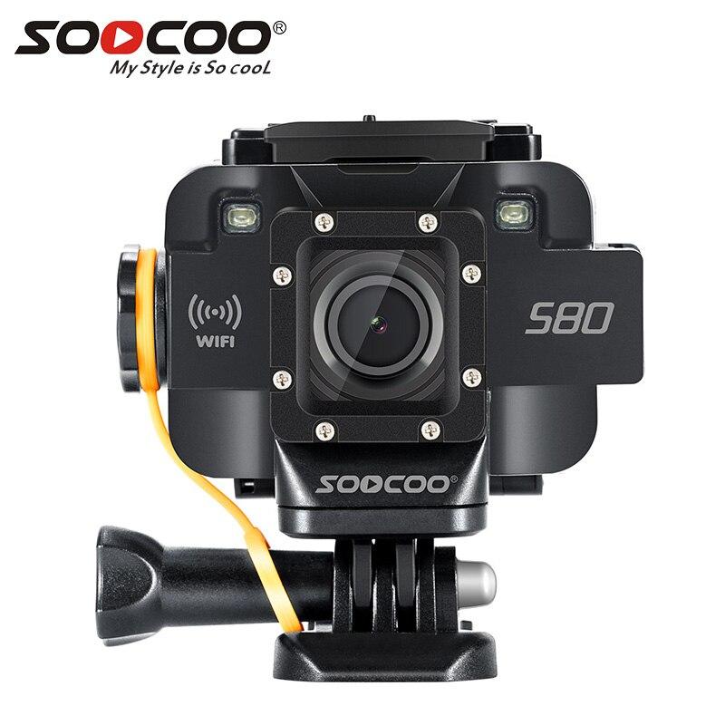 SOOCOO S80 D'action Caméra 20 m Wateproof Caméra De Sport Mini Vidéo WIFI Sport DV Starlight Nuit Aide à la Vision Micro Externe