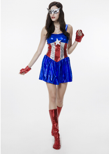 Fancy Marvel Avengers Superhero Captain America Woman Costume dress+glove+boot Sexy Cosplay Halloween Female Adult role-playing