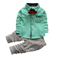Baby Boys Clothes Colorful Bow Tie Full Sleeve Boys Gentleman Children Sets Shirt Pants Outfits For