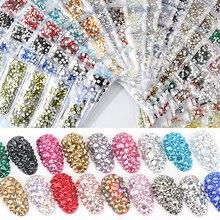 40 цветов, SS3-SS10 разных размеров, Кристальные Стразы для ногтей, стразы для дизайна ногтей
