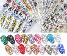 40 Colors SS3-SS10 Mix Sizes Crystal AB Glass Nail Rhinestone Glitter Strass Nail Art Rhinestone for Nail Art Decorations недорого