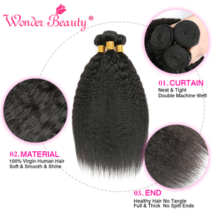 Image 2 - Kinky Straight Hair Bundle With Closure Brazilian Hair Weave Bundlles Wonder Beauty Human Hair Bundles with Closure Non Remy