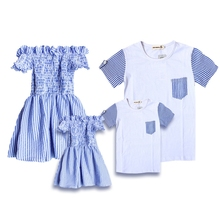 Summer Family Matching Blue Striped Dress Party Outfits
