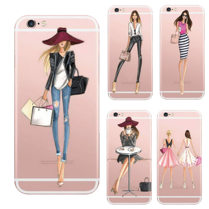 Fashionable Dress Shopping Girl Cases For IPhone 5 5s SE 6 6s 6plus Case Transparent Clear Soft Silicon Phone Cover