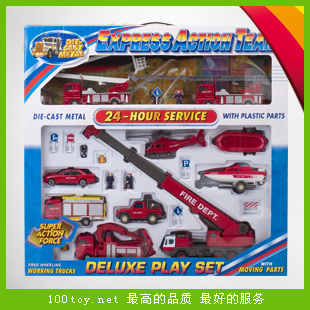 Fire truck toy set aerial ladder fire truck crane trailer rescue vehicle cars