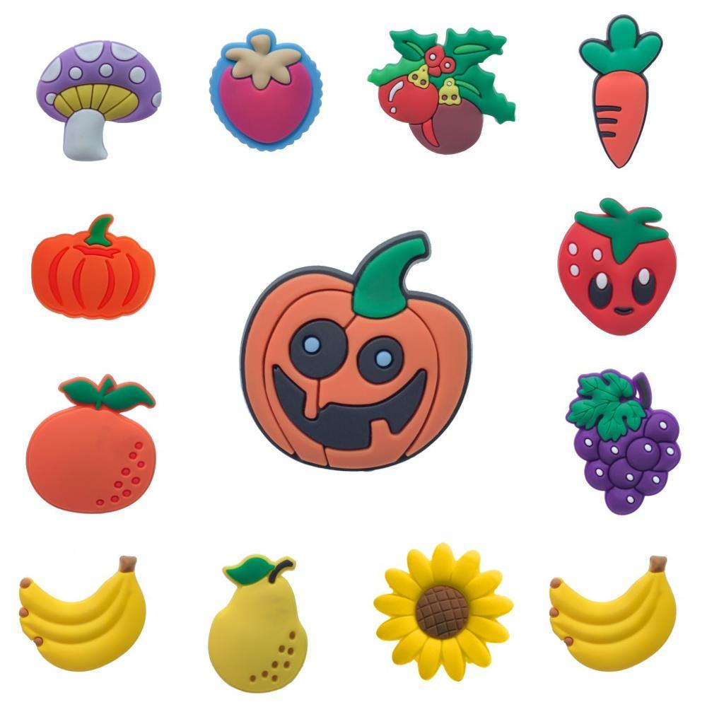 1pc Vegetables & Fruits PVC Shoe Charms Shoe Accessories DIY Shoe Decoration For Croc Jibz Kids Favor Kawaii Cute X-mas Gift