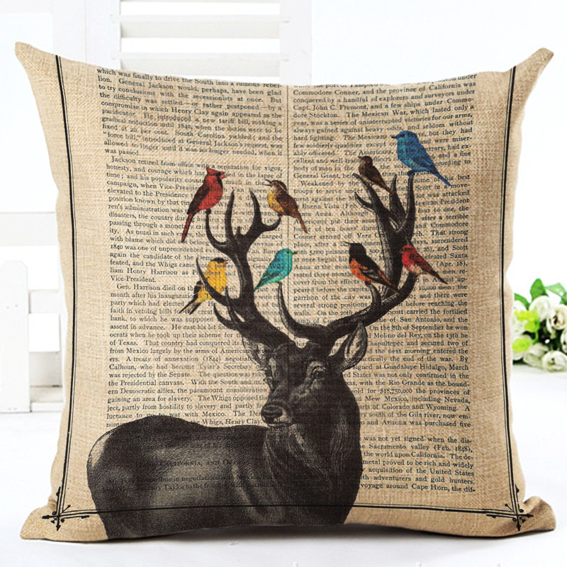 Animal On Page Drawing Pillowcase Cushion Cover 2017 New Cartoon Pillow Case Pillow Covers 45X45cm Bedroom Sofa Decoration F