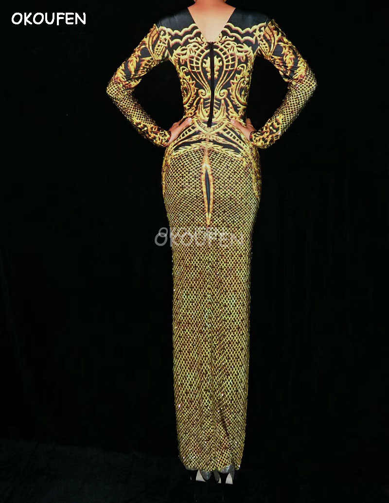 Новый черный золотой узор горный хрусталь Комбинезоны для ночного клуба диджей певича хип платье для взрослых сценическое шоу одежда