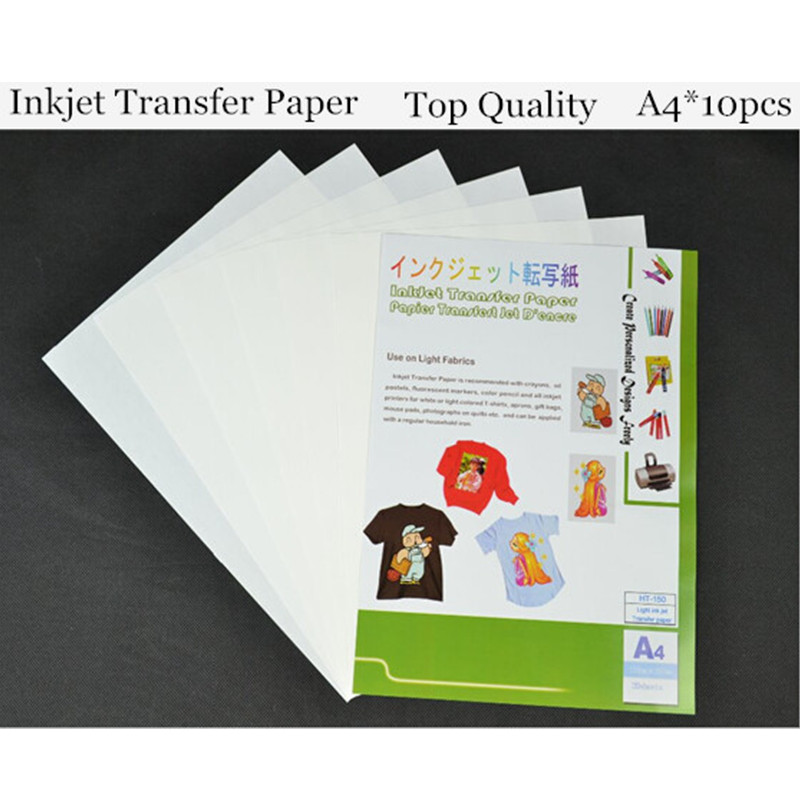 (A4*10pcs) Top Quality Iron On Light Inkjet Heat Transfer Paper For 100% Cotton Thermal Transfer Iron Papel Decal Paper HT-150