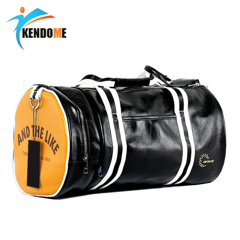 Outdoor Men's Sports Gym Bag PU Leather Training Shoulder Bag With Independent Shoes Pocket Mixed Color Sport Fitness Travel Bag
