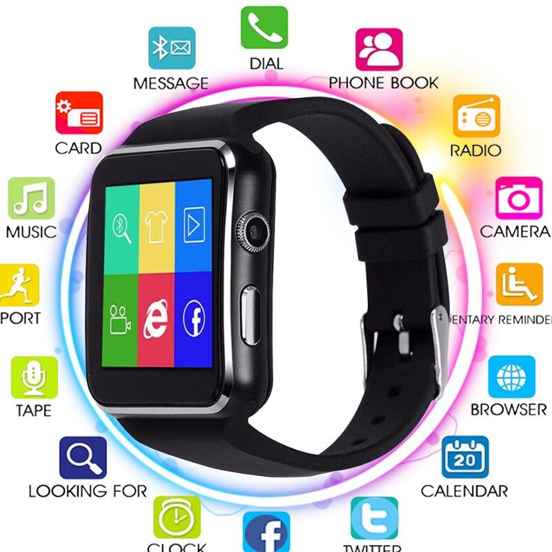 Nuovo Arrivo X6 Astuto Della Vigilanza con la Macchina Fotografica di Tocco di Sostegno Dello Schermo SIM Carta di TF Bluetooth Smartwatch per iPhone Xiaomi Android Phone