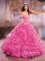 Linda Rosa Quente Quinceanera Vestidos com Train 2016 Beads Bordados Ruffles Partido Brithday Vestido De Baile para 15 Anos Vestidos