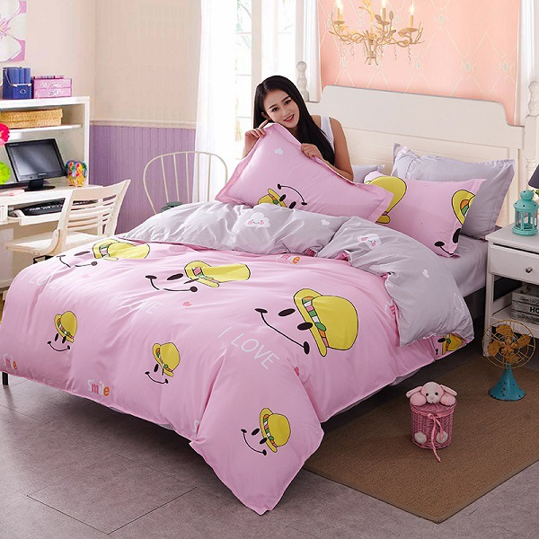 Sale Refreshing Series Soft 3/4pcs Bedding Set Luxury Include Smiley Face/cojines  Cartoon Duvet Cover Flat Bed Linen Pillowcase  In Bedding Sets From Home ...