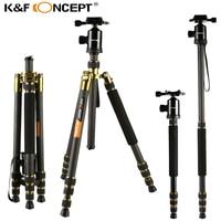 K & F концепция TC2534 профессиональный путешествия углеродного волокна штатив Камера монопод штативы + шаровой головкой + сумка для цифровой Ка