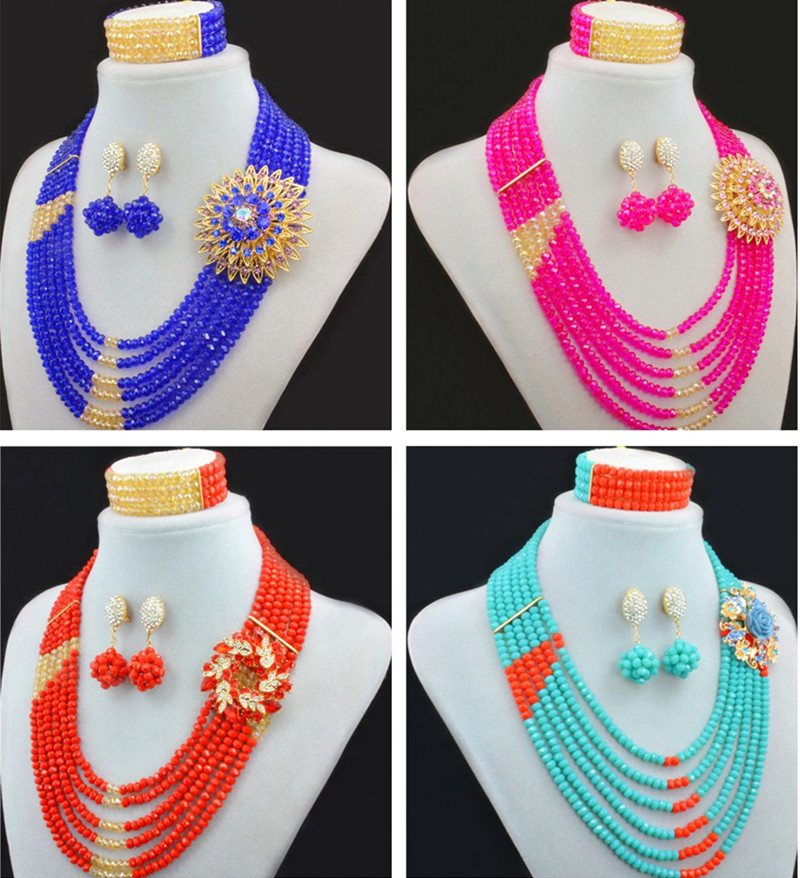 Women's Party Newest African Beads Jewelry Sets Statement Choker Bib African Necklace Beads Set Nigerian Wedding Jewelry Sets red color african beads jewelry sets two layer beads indian jewelry sets luxury statement choker necklace fashion jewellery