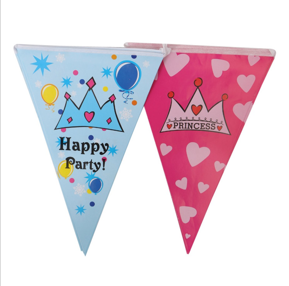 2.3m 10pcs Cartoon Pennants Birthday Party Paper Flags Decoration Baby Shower Boy Girl Bunting Banner Garland Kids Favors Decor
