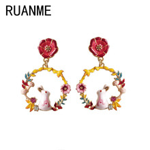 ФОТО the new enamel glaze eardrop of rabbits color drip earrings lovely small animals rabbits round leaves, petals earrings