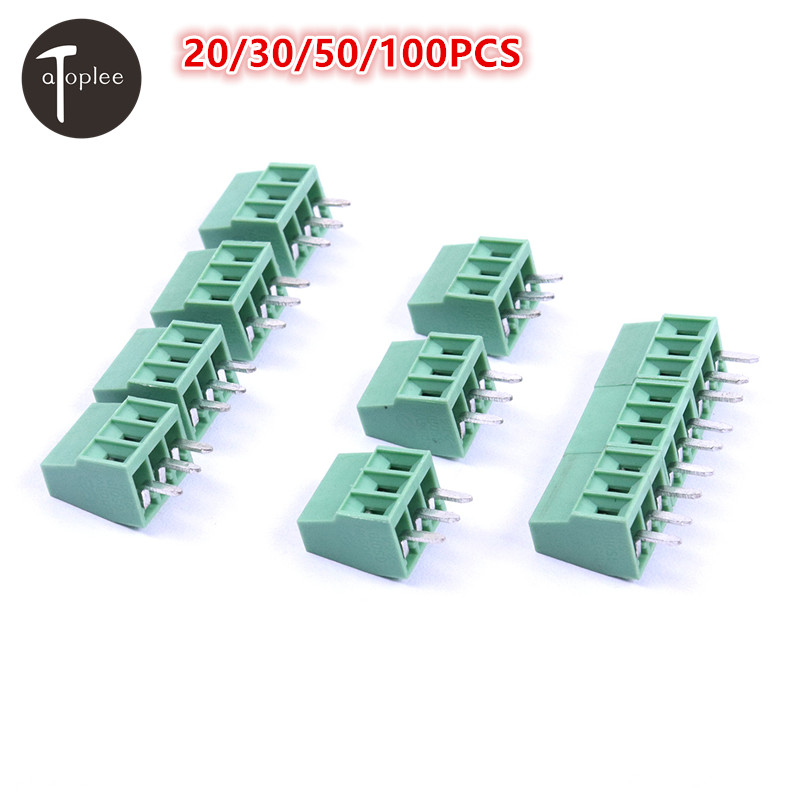 Hot 20/30/50/100pcs 3 Poles/3Pin 2.54mm PCB Universal Screw Terminal Block Connector useful 20 30 100 200pcs pitch 2 54mm splice straight pin pcb 2pin 3pin universal screw terminal block connector for pcb wiring