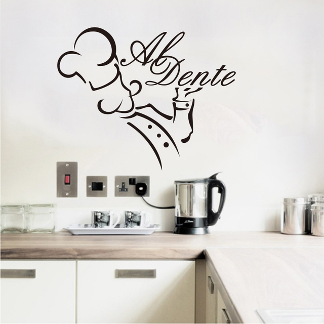 autocollants cuisine al dente vinyle stickers muraux amovible de papier peint mur art pour. Black Bedroom Furniture Sets. Home Design Ideas