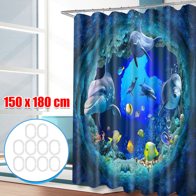 Ocean Dolphin Deep Sea Polyester Shower Curtain 3