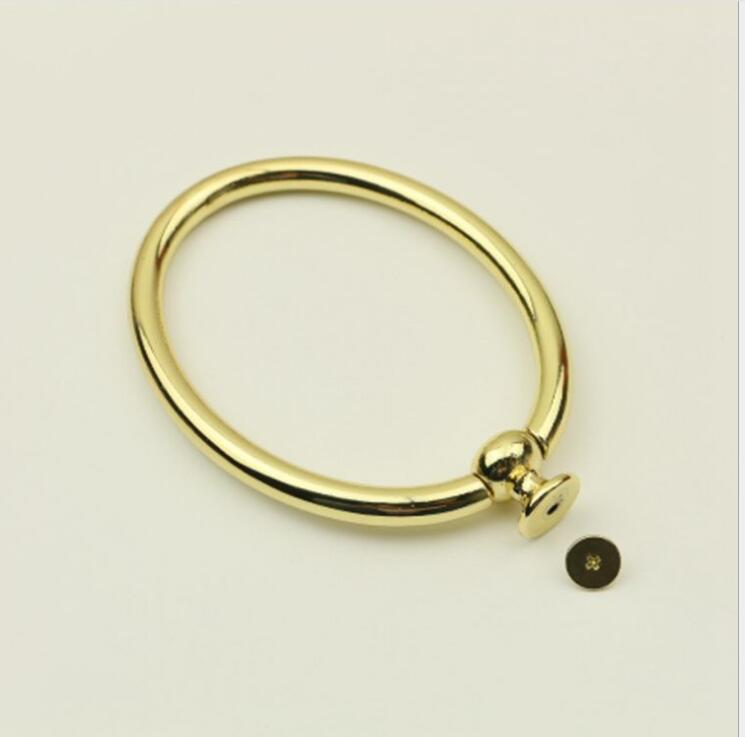 6 Pieces Gold Color Oval Shape DIY Metal Handbag Accessories Handle Hanger Obag Metal Purse Handle Wholesale Purse Frame Handle