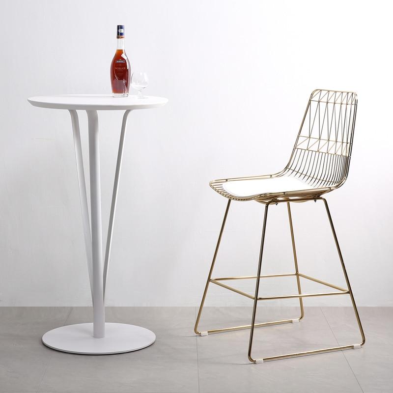 Nordic minimalist wrought iron armchair modern bar wire bar high chair creative metal mesh hollow plating high bar chair