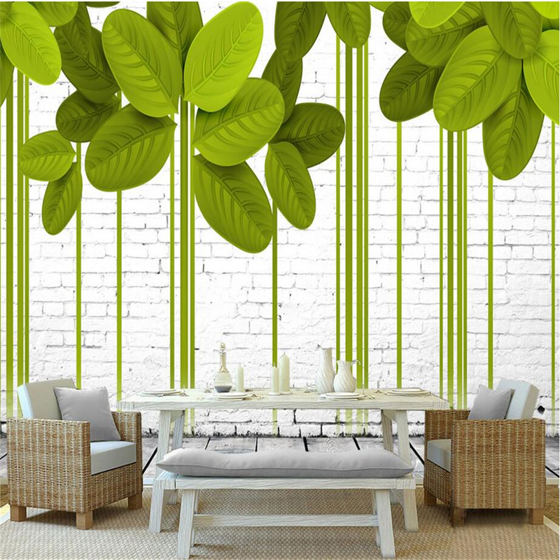 Brick Wallpaper 3d Custom Green Leaves 3d Wallpaper Abstract Modern Photo Wall Mural TV Background 3d Wallpaper for Living Room custom any size 3d mural wallpaper european modern minimalist bedroom living room tv backdrop abstract trees 3d photo wallpaper page 3