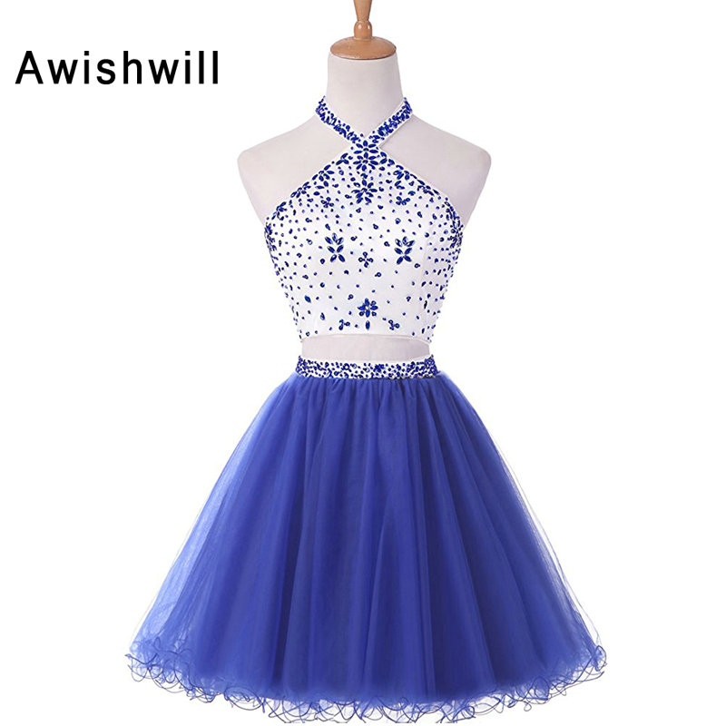Real Photo Halter Beaded Tulle Two Piece Short Homecoming Dresses 2018 Open Back Short Party Prom Dress Cheap
