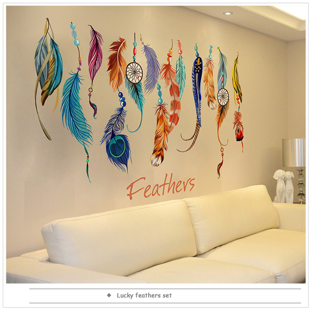1PCS DIY Lucky Feathers Home Decorative Accessories Stickers PVC ...