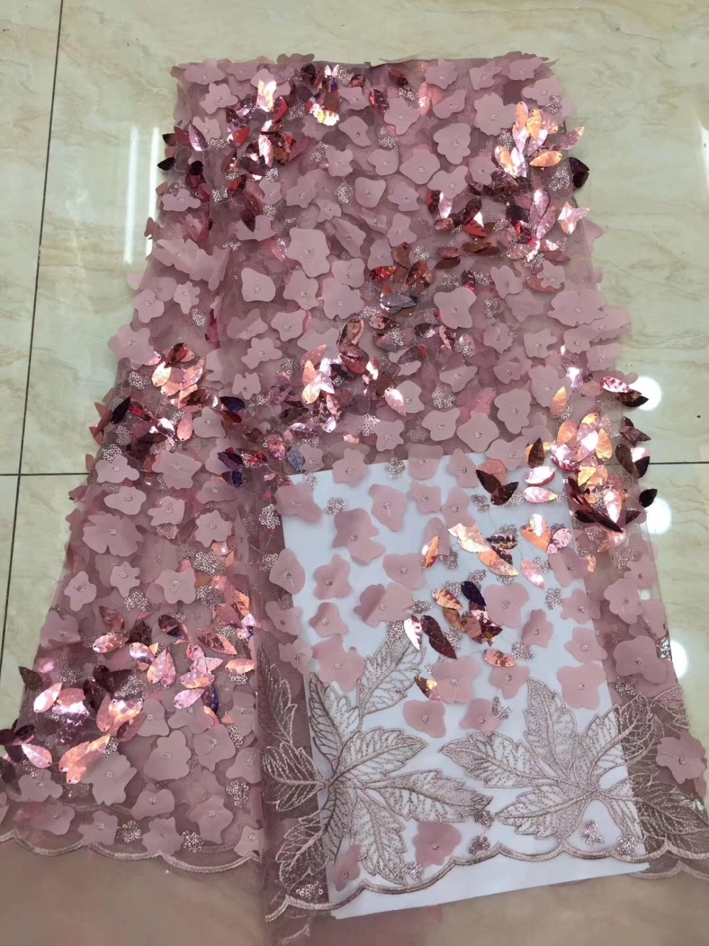 Unique New African Lace Fabric 2019 High Quality Nigerian French Guipure Cord Lace fabric With Sequins For Women DressUnique New African Lace Fabric 2019 High Quality Nigerian French Guipure Cord Lace fabric With Sequins For Women Dress
