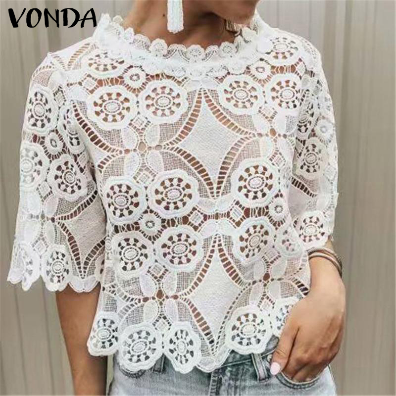 VONDA Women Hollow Lace Blouse 2019 Summer Bohemian Blusas Sexy O-Neck Short Sleeve Tops Casual Office Ladies Shirts Plus Size