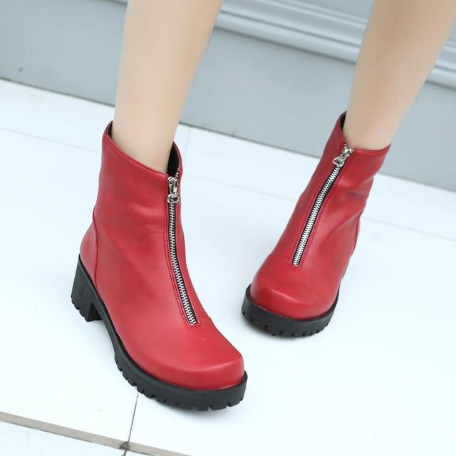 PXELENA Square Toe Toe Toe Creepers Ankle Stivali Donna Front Zipper Square 315ba5