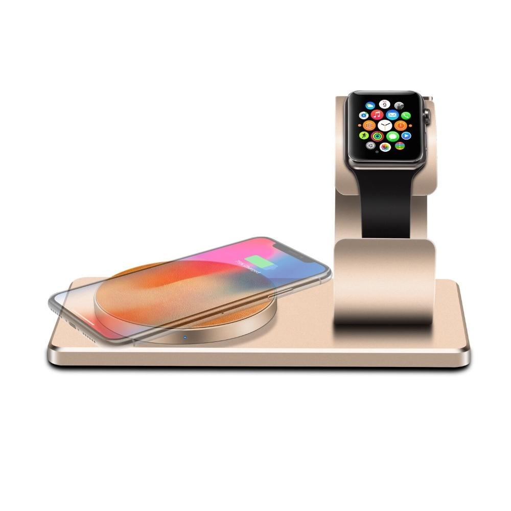 Téléphone portable Qi Chargeur Sans Fil pour iPhone X 8 8 Plus De Recharge Sans Fil pour Samsung S8 S7 S6 Bord avec montre de Support