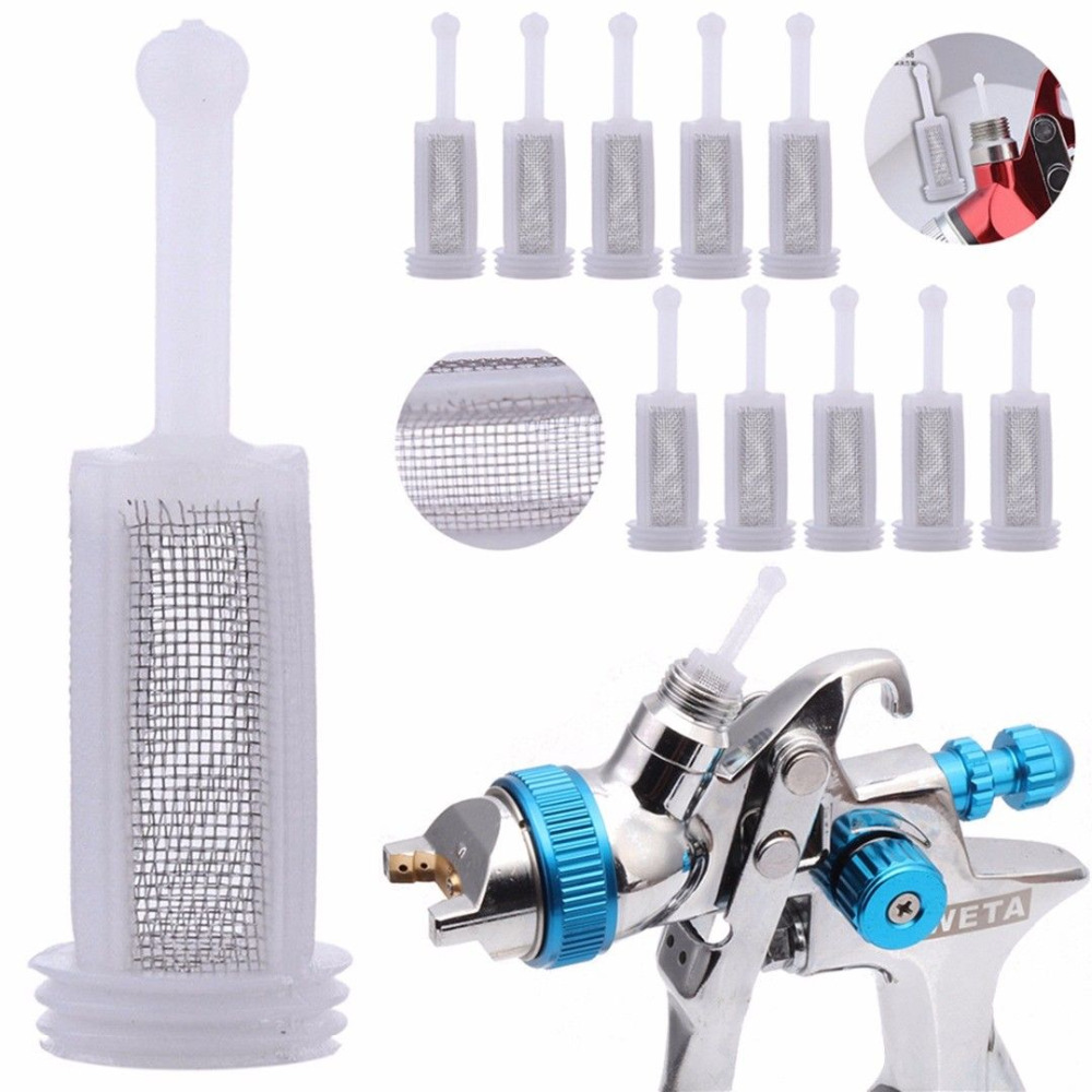 10pcs Plastic Spray Filter Gravity Type Spray Gun Pot Diameter 11mm Total Length 36mm Adapt To The Majority Of Solvent