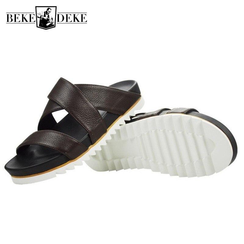 Top qualité hommes plate-forme en cuir véritable pantoufles d'été plage tongs Sandalias hauteur augmentant creux intérieur extérieur sandales - 2