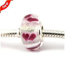 Se adapta a pandora pulseras salvajes corazones de plata murano 100% 925 plata esterlina encantos de la joyería diy al por mayor 085019