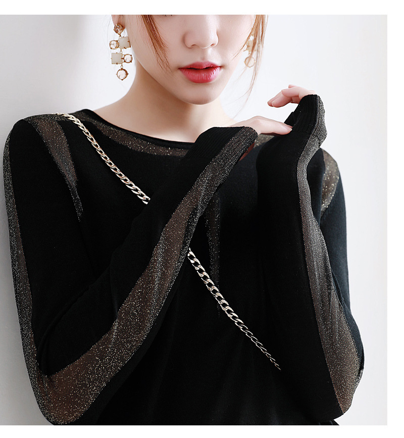 Automne 2018 nouveau sexy fil brillant couture superfine laine col rond manches longues tricot-in Blouses & Chemises from Mode Femme et Accessoires on AliExpress - 11.11_Double 11_Singles' Day 1