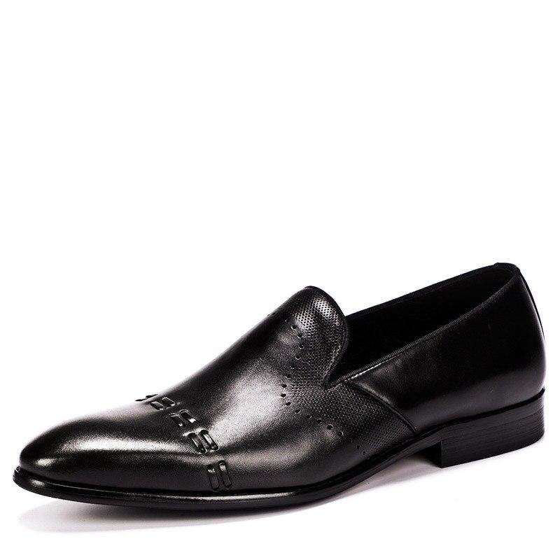de4b6065 Zapatos Hombres Formales Sapato Tamaño Los De Fiesta 2019 Negocios Genuino  Vestir Masculino Encaje brown Oxford Cuero Black Boda ...